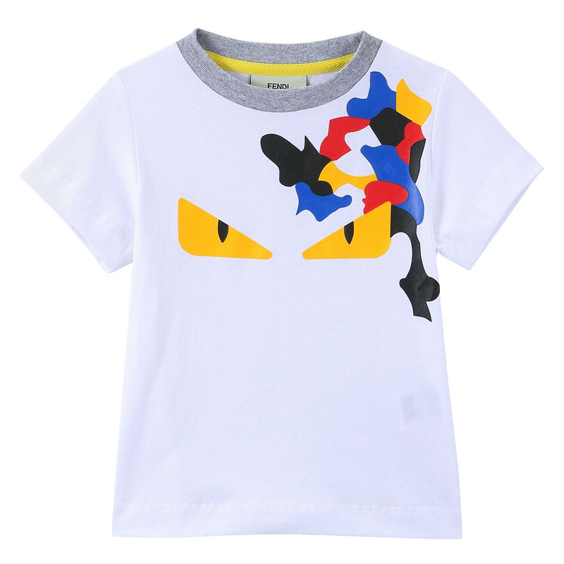Boys White 'Monster' Eyes Printed Cotton T-Shirt - CÉMAROSE | Children's Fashion Store - 1