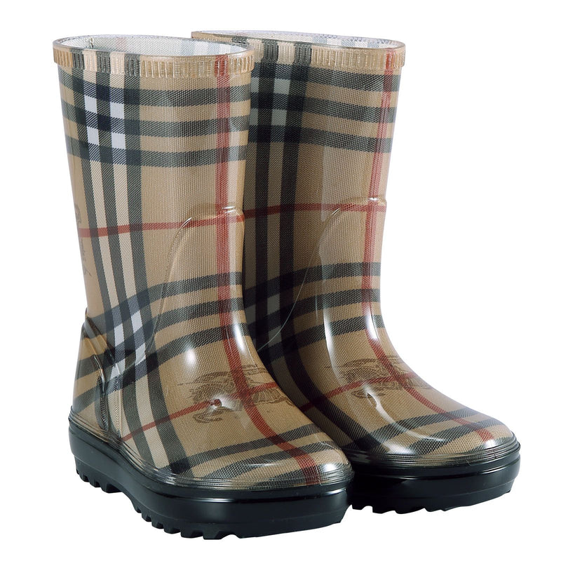 Baby Beige Check Rain Boots - CÉMAROSE | Children's Fashion Store - 1