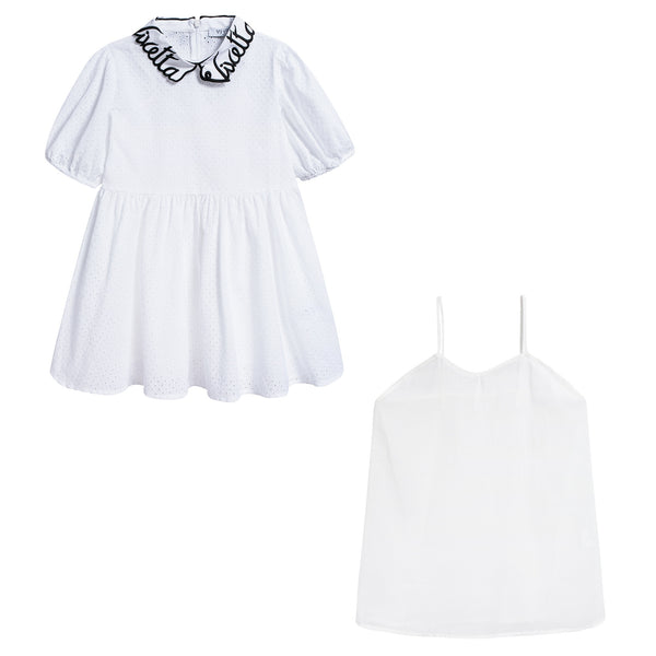 Girls White Collar And Embroidery Cotton Woven Dress