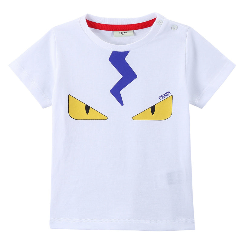 Baby Boys White Cotton 'Monster' Printed T-Shirt - CÉMAROSE | Children's Fashion Store - 1