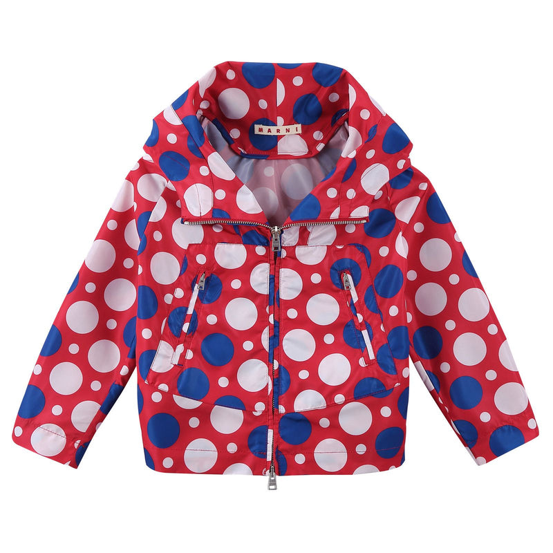 Girls Red Cotton Hooded Jacket With Multicolor Spot Print - CÉMAROSE | Children's Fashion Store - 1