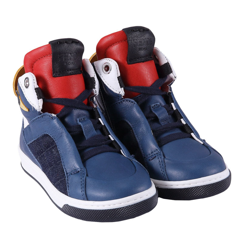 Boys Blue 'Monster' Leather High-Top Trainers - CÉMAROSE | Children's Fashion Store - 2