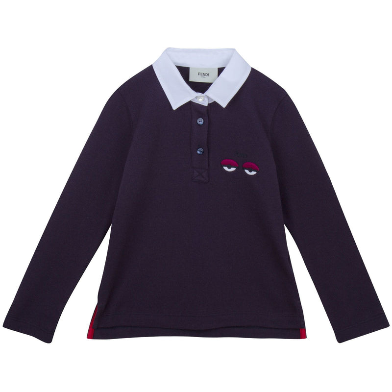 Girls Blue Monster Long Sleeve Contton Polo Shirt - CÉMAROSE | Children's Fashion Store - 1