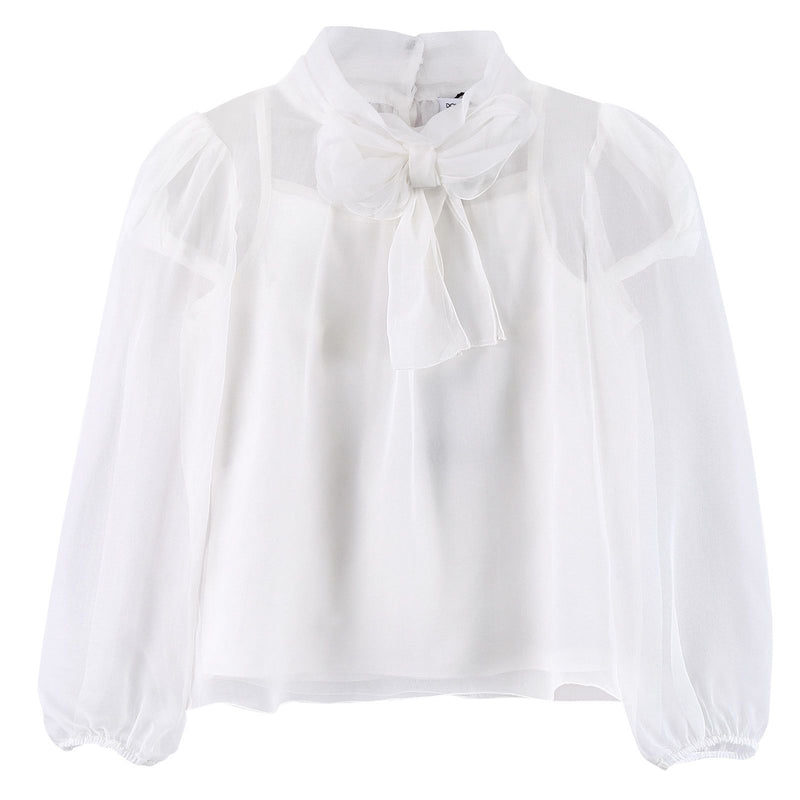 Girls Ivory Bows Trims See-Through Blouses - CÉMAROSE | Children's Fashion Store - 1