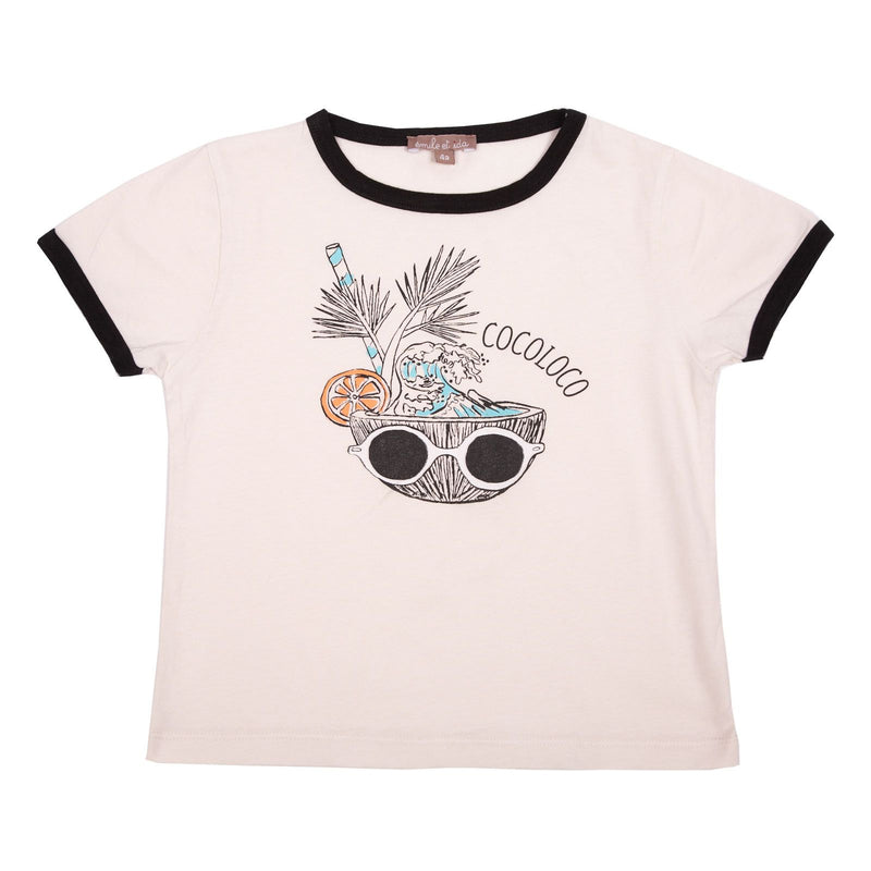 Girls White Cotton T-Shirt With Coco Loco Print Trims - CÉMAROSE | Children's Fashion Store