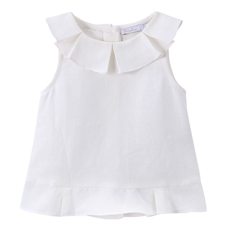 Girls Milk White Ruffled Collar Blouse - CÉMAROSE | Children's Fashion Store - 1