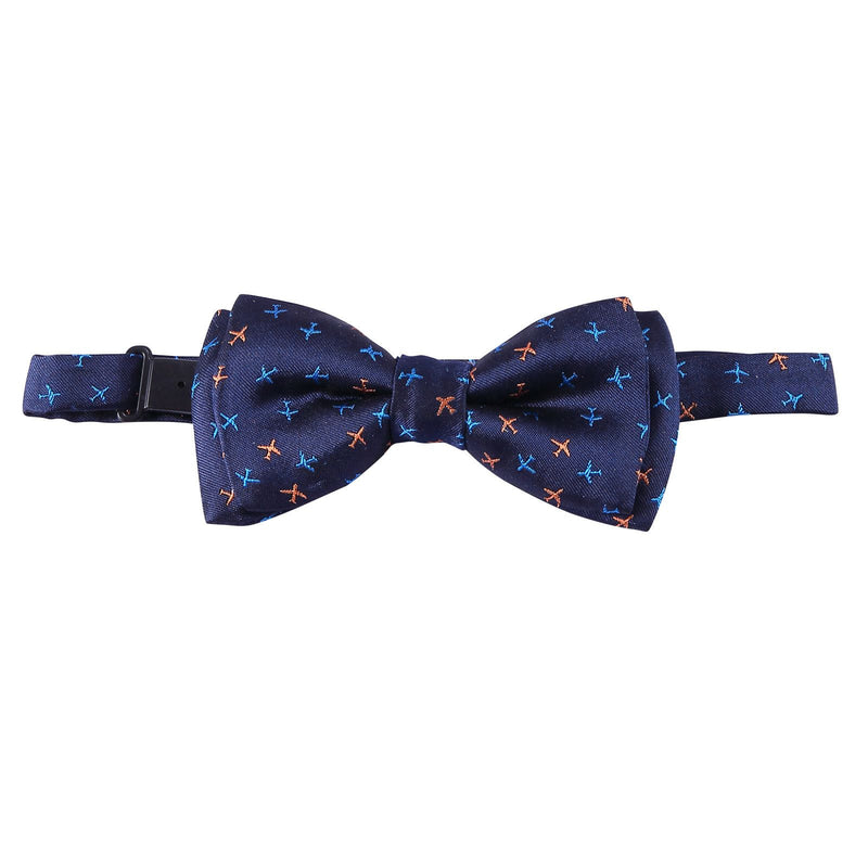 Boys Navy Blue Embroidered Trims Silk Bow Ties - CÉMAROSE | Children's Fashion Store - 1