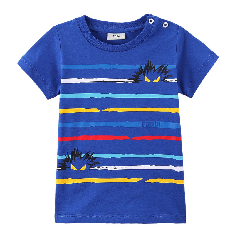 Baby Boys Sky Blue Cotton T-Shirt With Multicolour Stripe - CÉMAROSE | Children's Fashion Store - 1