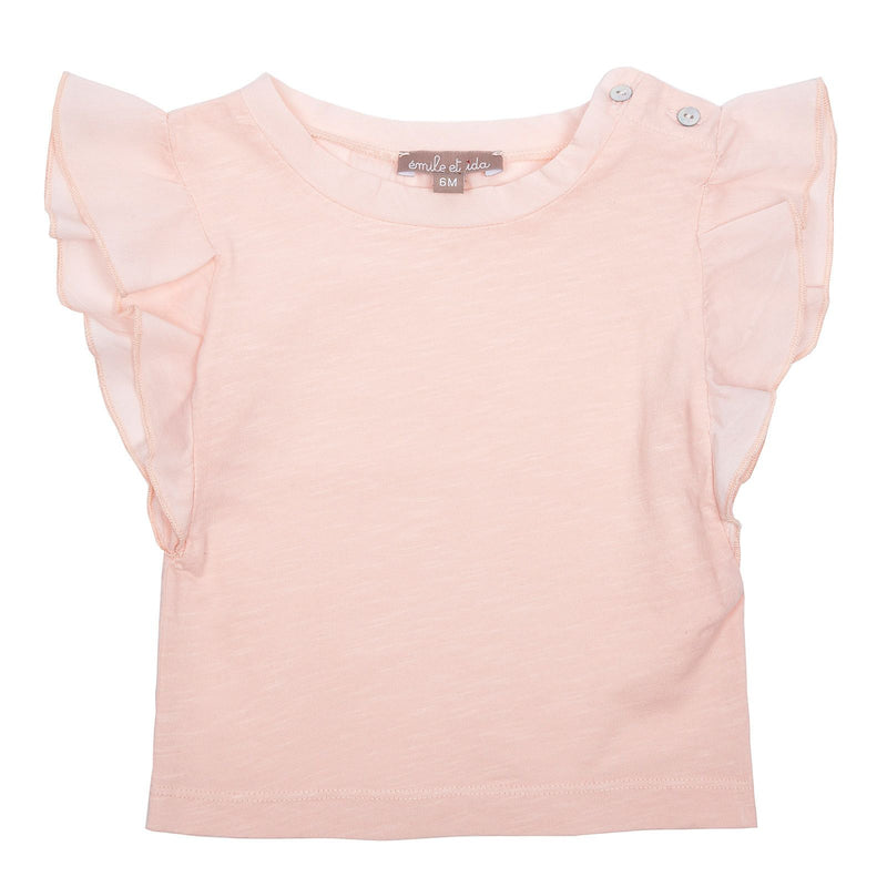 Girls Light Pink Frilly Cuffs Cotton T-Shirt - CÉMAROSE | Children's Fashion Store