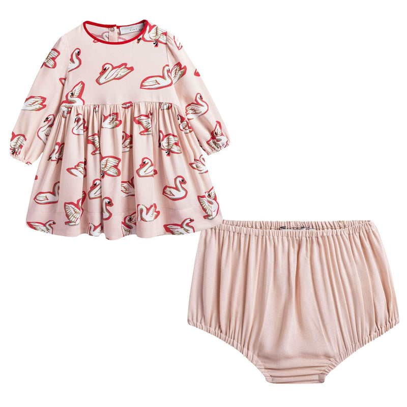 Baby Girls Pink Fleur Swan Printed Dress