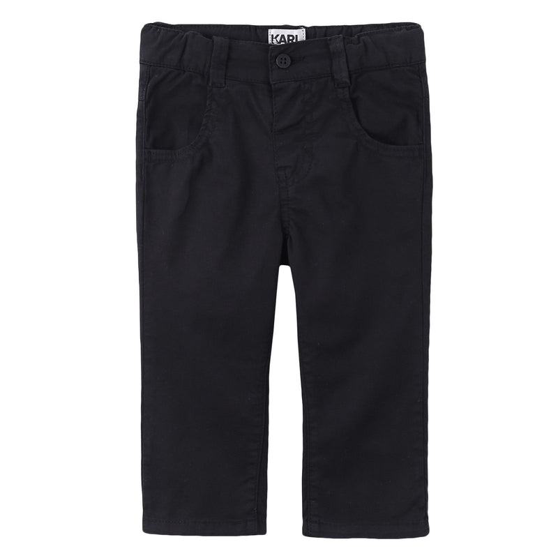 Baby Black Cotton Straight Trousers - CÉMAROSE | Children's Fashion Store - 1