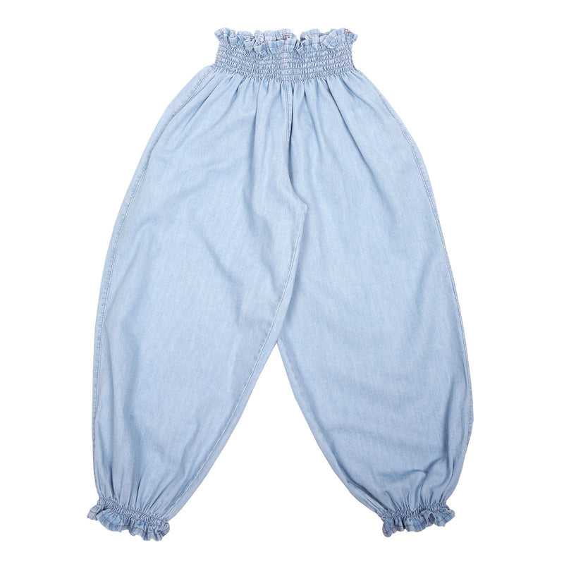 Girls Blue Cotton Waist Trousers With Frilly Cuffs - CÉMAROSE | Children's Fashion Store