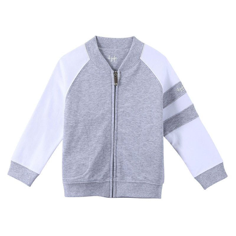 Boys Grey Cotton Knitted Jacket With Stripe Trims - CÉMAROSE | Children's Fashion Store - 1