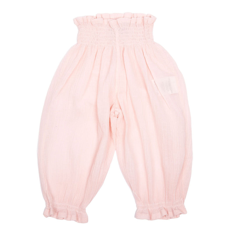 Girls Pink Cotton Waist Trousers With Frilly Cuffs - CÉMAROSE | Children's Fashion Store