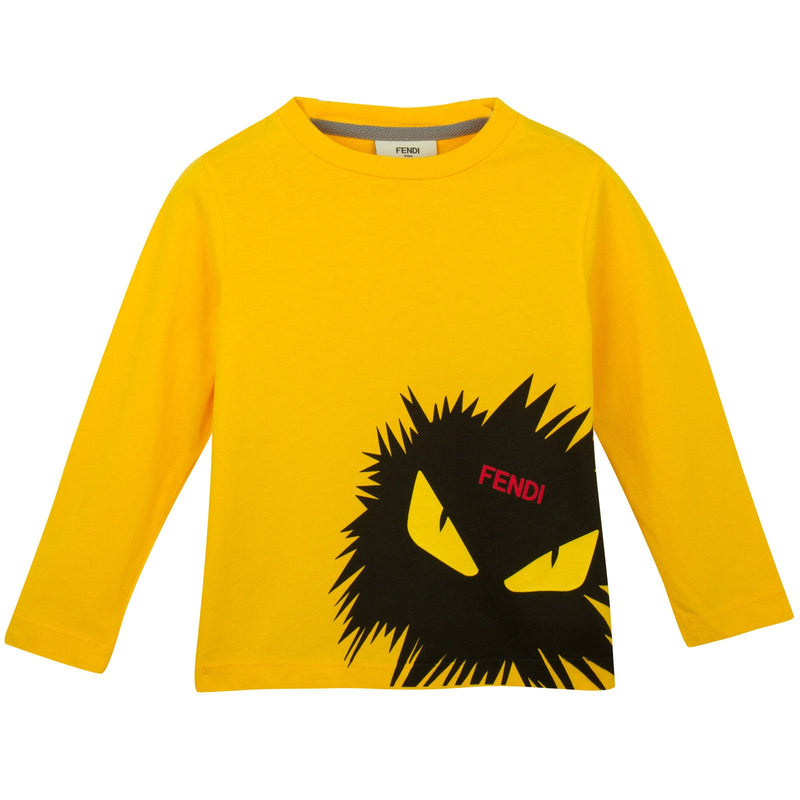 Boys Yellow Cotton T-Shirt With Monster Logo - CÉMAROSE | Children's Fashion Store - 1