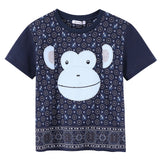 Boys Dark Grey Monkey Face Printed Cotton Jersey T-Shirt - CÉMAROSE | Children's Fashion Store - 1