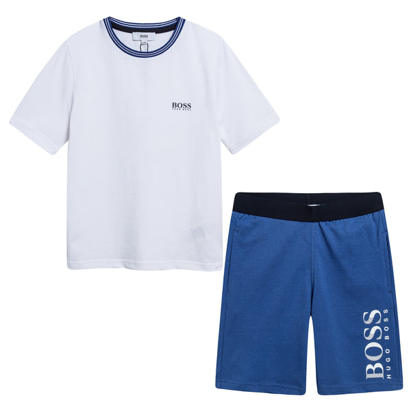 Boys White & Blue Logo Cotton Set