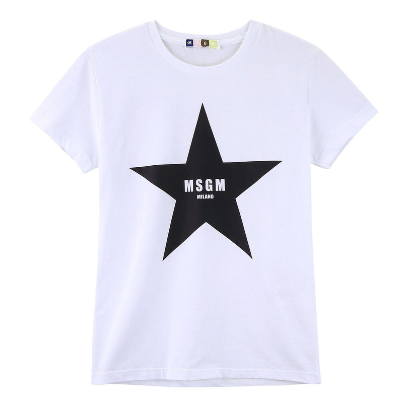 Boys White Cotton Jersey T-Shirt With Black Star Print - CÉMAROSE | Children's Fashion Store - 1