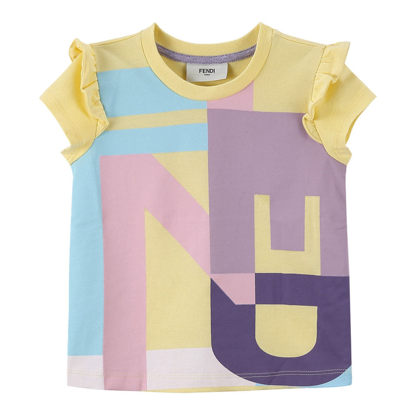 Girls Multicolour Cotton T-Shirt With Yellow Frilly Cuffs - CÉMAROSE | Children's Fashion Store - 1