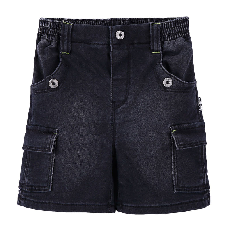Boys Black Denim Effect Fleece Short - CÉMAROSE | Children's Fashion Store - 1