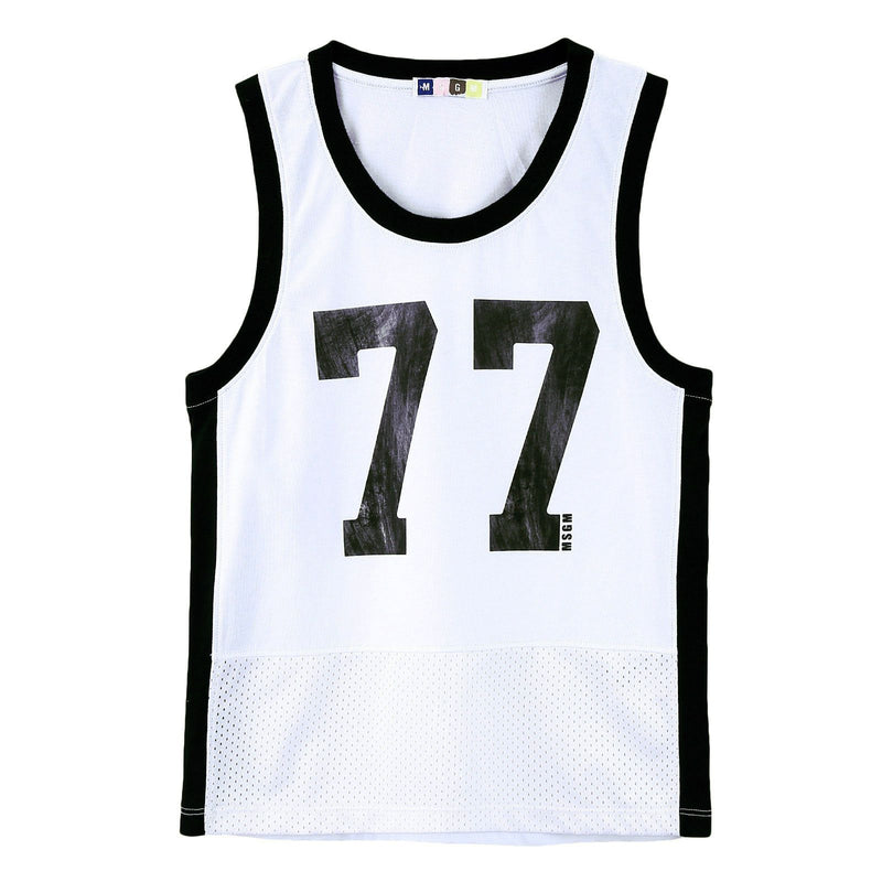 Boys White Cotton Jersey Vest With '77' Print Logo - CÉMAROSE | Children's Fashion Store - 1