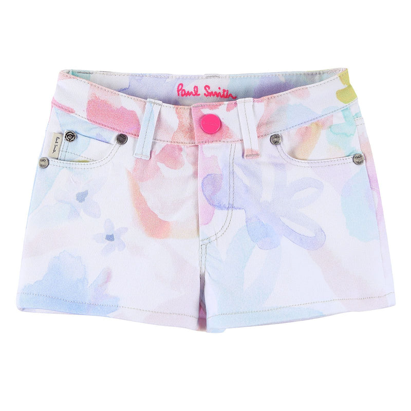 Girls White Cotton Short With Multicolor Print Trims - CÉMAROSE | Children's Fashion Store - 1