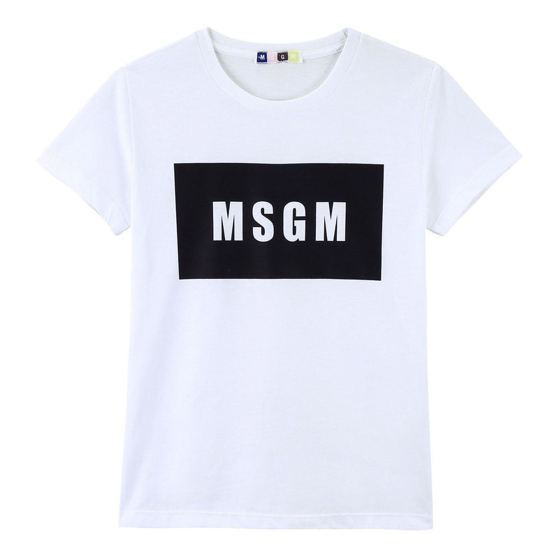 Boys White Cotton Jersey T-Shirt With Black Brand Name Logo - CÉMAROSE | Children's Fashion Store - 1