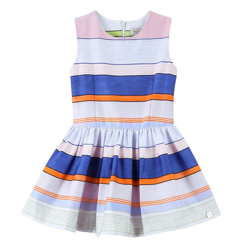 Girls White Pleated Hem Dress With Colorful Stripe - CÉMAROSE | Children's Fashion Store - 1