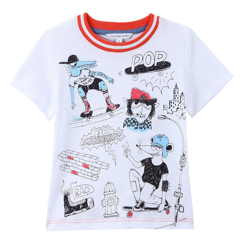 Boys White Fancy Illustration Printed Cotton Jersey T-Shirt - CÉMAROSE | Children's Fashion Store - 1