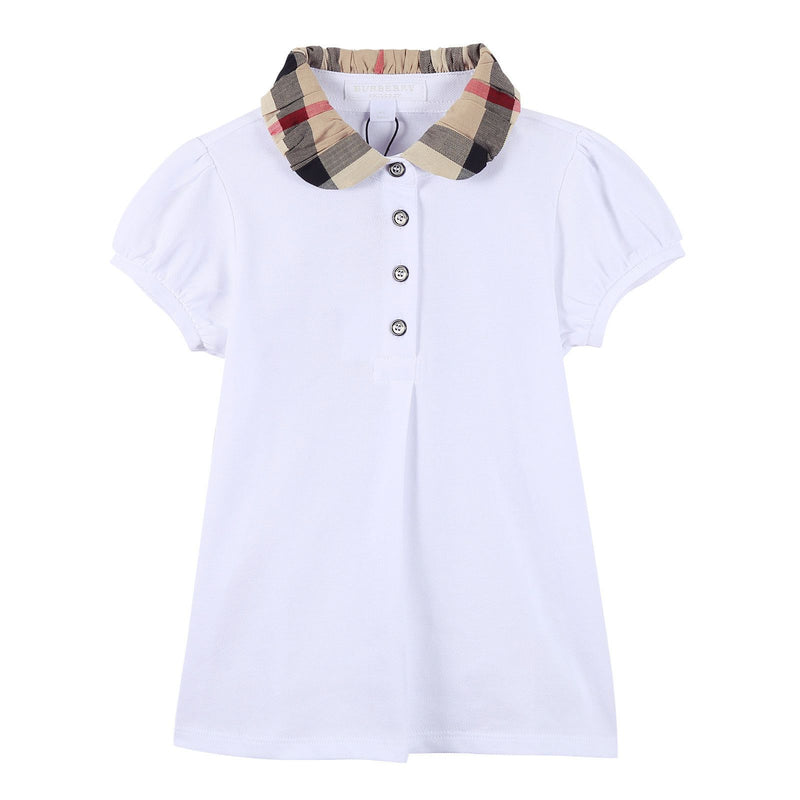 Girls White Cotton T-Shirt With Check Collar - CÉMAROSE | Children's Fashion Store - 1