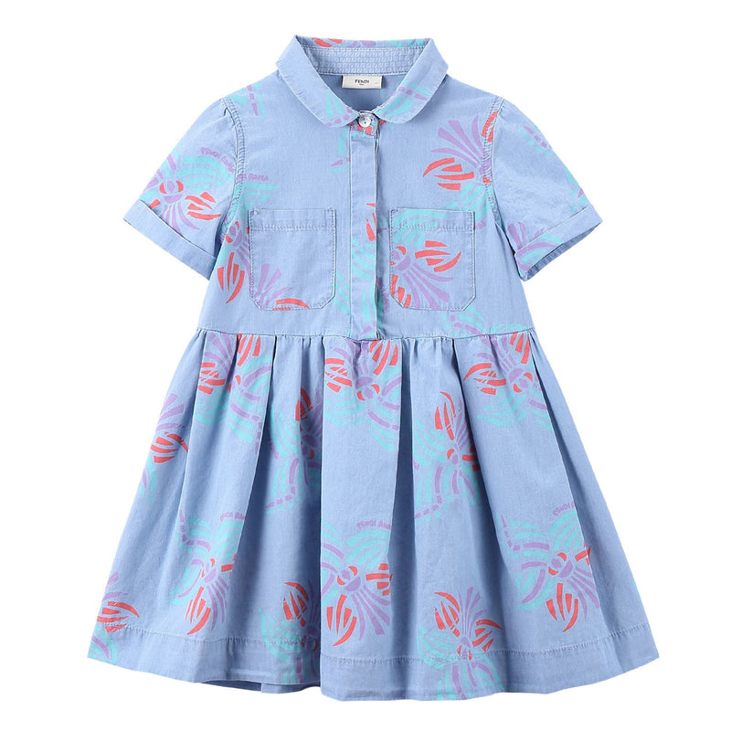 Girls Light Blue Printed Trims Shirts Style Dress - CÉMAROSE | Children's Fashion Store - 1