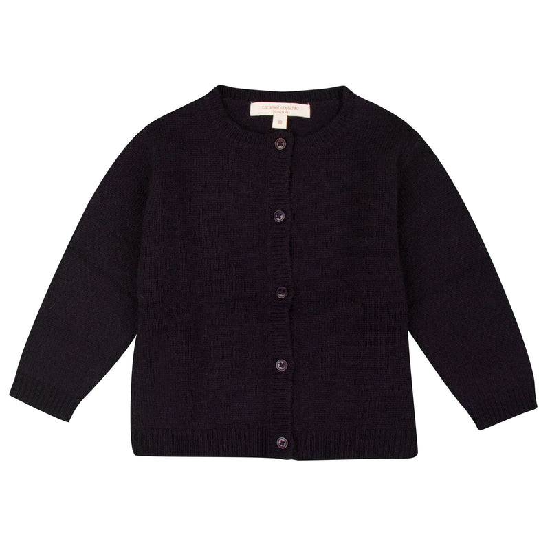 Baby Navy Blue Knitted Jersey Wool Cardigan - CÉMAROSE | Children's Fashion Store - 1