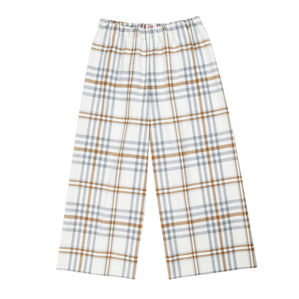 Girls Beige Check Trousers