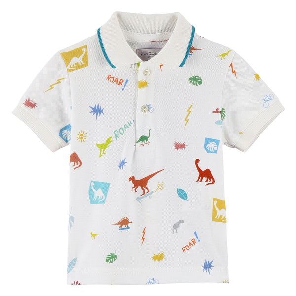 Baby Boys White Cotton Polo Shirt With Multicolor Dinosaur Print - CÉMAROSE | Children's Fashion Store - 1