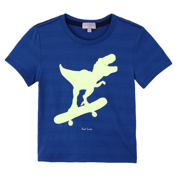 Boys Royal Blue Cotton Skateboard Dinosaur Printed T-Shirt - CÉMAROSE | Children's Fashion Store - 1