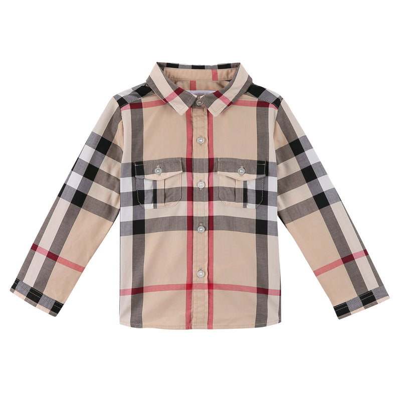 Baby Boys Multicolor Classic Check Long Sleeve Cotton Shirt - CÉMAROSE | Children's Fashion Store - 1