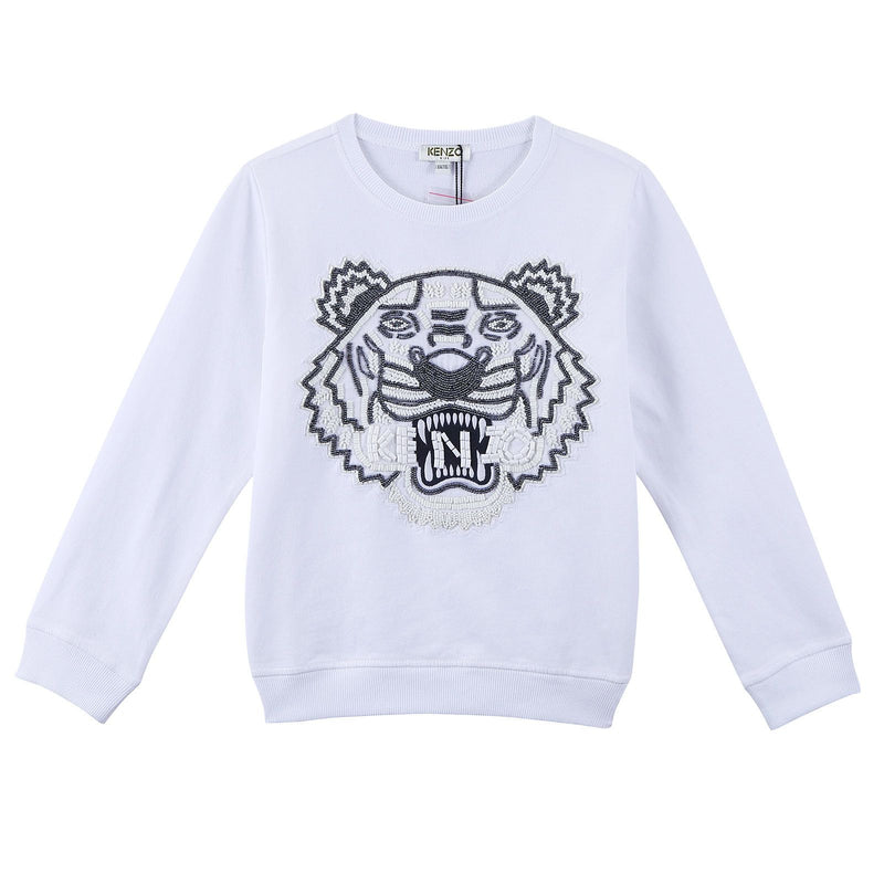 Girls White Tiger Head Embroidered Trims Cotton Sweatshirt - CÉMAROSE | Children's Fashion Store - 1