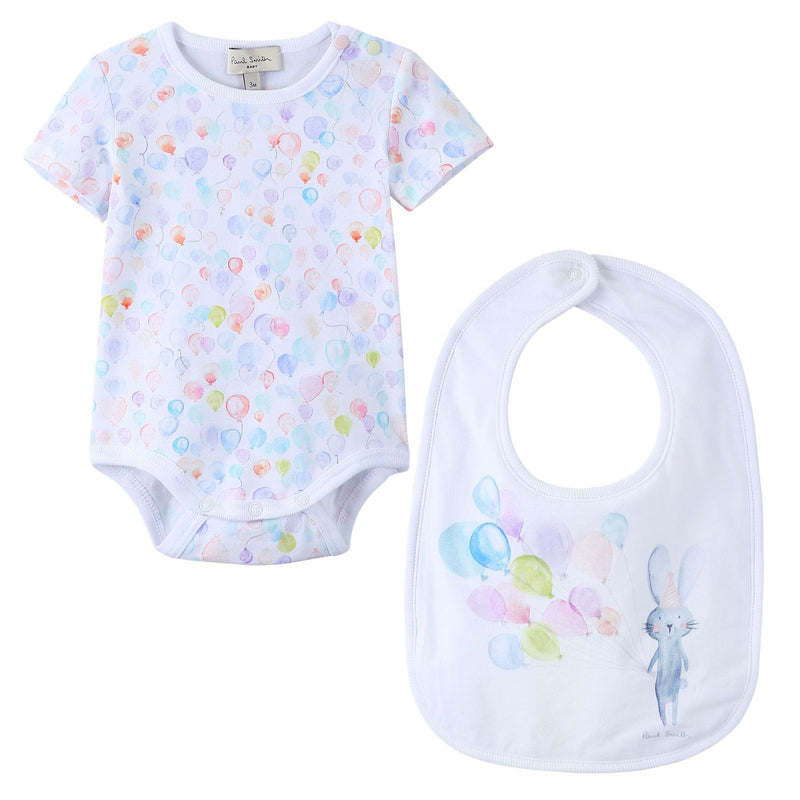 Baby Girls Multicolor Balloon Printed Bodysuit & Bib Set - CÉMAROSE | Children's Fashion Store - 1