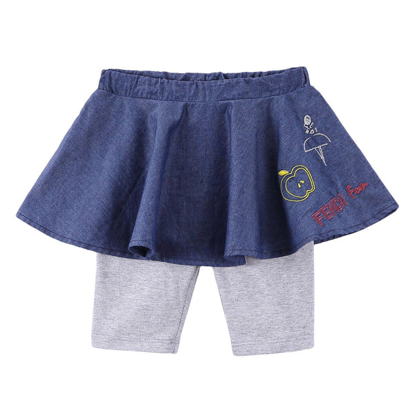 Baby Girls Blue Embroidered Trims Skirt With Grey Leggings - CÉMAROSE | Children's Fashion Store - 1