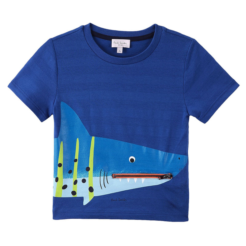 Boys Royal Blue Shark Printed Cotton T-Shirt - CÉMAROSE | Children's Fashion Store - 1