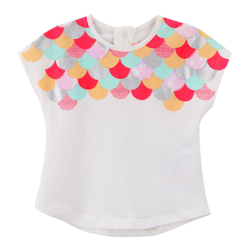 Baby Girls White Cotton T-Shirt With Patch Flake Trims - CÉMAROSE | Children's Fashion Store - 1