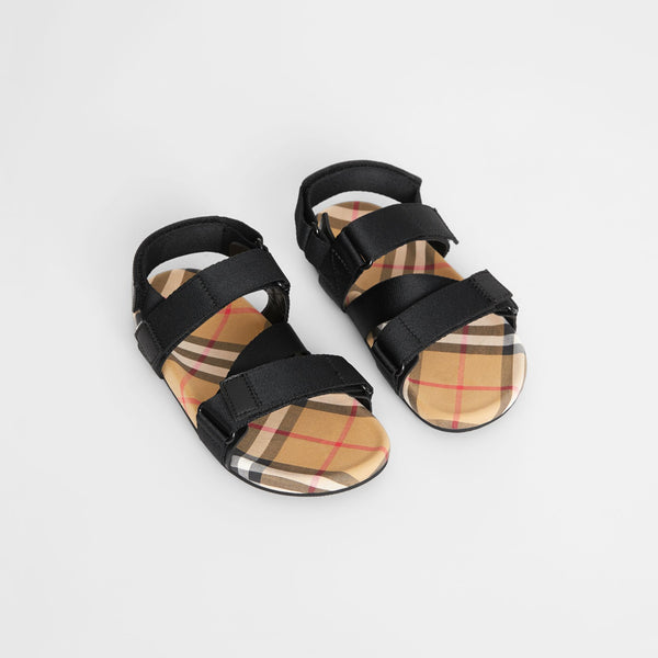 Boys & Girls Black & Antique Yellow Sandals