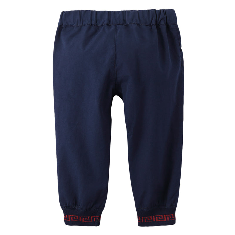 Baby Boys Navy Blue Ribbed Cuffs Cotton Trousers - CÉMAROSE | Children's Fashion Store - 2