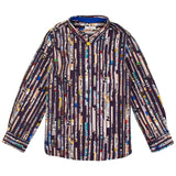 Boys Navy Blue Multicolor Signature Printed Stripe Shirt - CÉMAROSE | Children's Fashion Store - 1