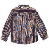 Boys Navy Blue Multicolor Signature Printed Stripe Shirt - CÉMAROSE | Children's Fashion Store - 2