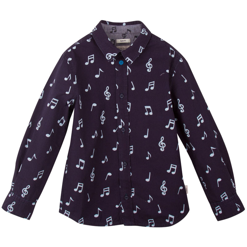 Boys Navy Blue Musical Notes Chambray Cotton Shirt - CÉMAROSE | Children's Fashion Store - 1
