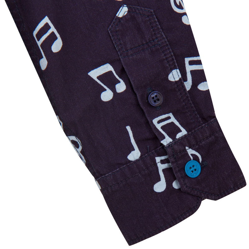 Boys Navy Blue Musical Notes Chambray Cotton Shirt - CÉMAROSE | Children's Fashion Store - 3