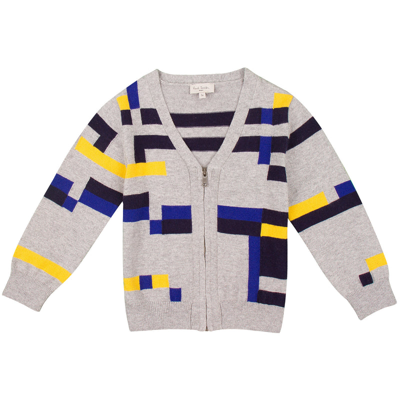 Baby Boys Grey Colour Block Knitted Cardigan - CÉMAROSE | Children's Fashion Store - 1