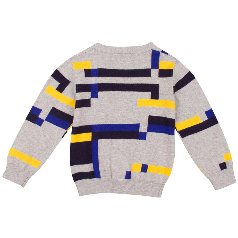 Baby Boys Grey Colour Block Knitted Cardigan - CÉMAROSE | Children's Fashion Store - 2