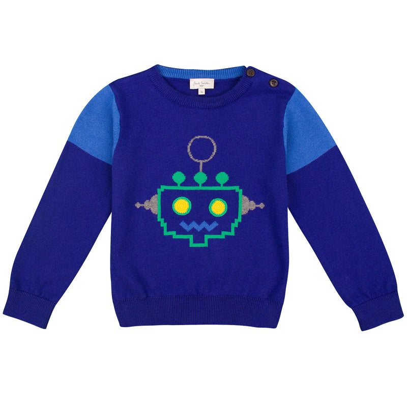 Baby Boys Regatta Blue Embroidered  Robot Sweater - CÉMAROSE | Children's Fashion Store - 1